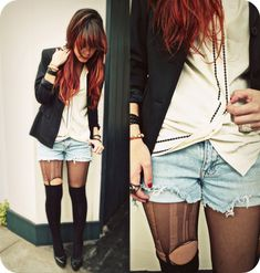 Red ombre hair, blazer, cut offs, and shredded tights. -- from Tumblr.com