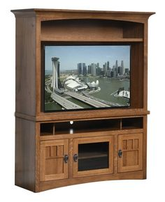 Amish Liberty Mission Entertainment Center with One Shelf Amish Liberty Mission Entertainment Center with One Shelf. You won't have to replace living room furniture that's this well made.Comes in three custom widths to best fit your space. Choice of wood, finish and hardware. #DutchCrafters