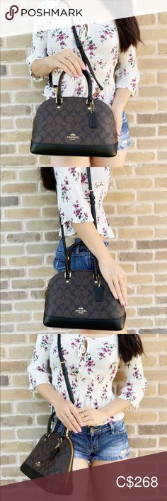 Coach Satchel/Crossbody Rose Print Midnight Floral Inside zip and multifunction pockets Zip-top closure, fabric lining Handles with drop Longer strap with (L) x (H) x (W) Coach Bags Satchels Leather Satchel Handbags, Coach Handbags, Coach Bags, Plus Fashion, Fashion Fashion, Fashion Tips, Fashion Trends, Black Leather Coach Purse, Coach Satchel