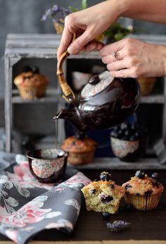 Muffins de limón y mascarpone con arándanos