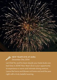 New Year's Eve at AURA - reservations reccomended!  http://www.aurarestaurant.ca/christmas-2014/new-years.htm