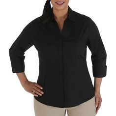 #walmart Riders By Lee Women's Plus-Size Career Essentials Button-Front 3/4 Sleeve Shirt W... - $15.5 (save 9%) #ridersbylee #clothing #womensplus
