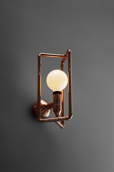Geometric sconce in many colorful metal finishes inspired by industrial style manufactured by European design studio. Available in Zapalgo online store. Copper Lamps, Copper Decor, Copper Pipes, Brass, Tea Lights, Wall Lights, Lampe Tube, Copper Work, Statues For Sale