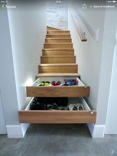 Stair step drawers.