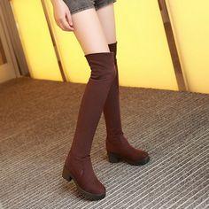 3fefc43d0d ... calidad Sexy nueva moda cuadrada de tacón alto plataforma invierno  sobre la rodilla alta Mujer punta redonda Slip On vestido zapatos oferta en  Botas por ...