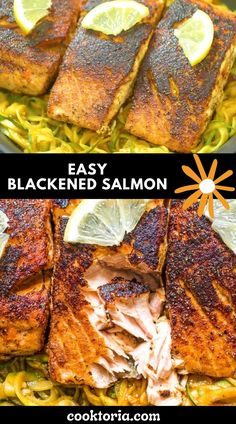 Perfectly seasoned, tender, and very easy to make, this Blackened Salmon makes a great dinner, worthy of a special occasion. Follow my step-by-step photo and video instructions and surprise your special someone with this elegant meal. FOLLOW Cooktoria for more deliciousness! If you try my recipes - share photos with me, I ALWAYS check! Best Seafood Recipes, Cheesy Recipes, Salmon Recipes, Mexican Food Recipes, Vegetarian Recipes, Cooking Recipes, Healthy Recipes, Blackened Salmon, Buzzfeed Tasty