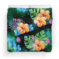 'Tropical Summer Nights Pattern' Duvet Cover by traceyeverart Summer Nights, Art Designs, Duvet Covers, Tropical, Invitations, Artist, Pattern, Home Decor, Art Projects