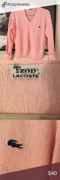 Vintage 1960's Lacoste sweater Amazing pink Lacoste v-neck sweater from the 60's. Excellent vintage condition! No stains or holes any where. Not really sure if it's a men's  or women's sweater. It's 22 1/2 inches long and measures 18 inches across. Fits great on me and I'm a S. This truly is a awesome sweater Lacoste Sweaters V-Necks