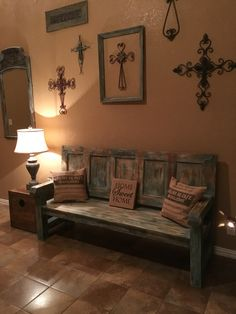 Old door bench painted with Annie Sloan Chalk paint
