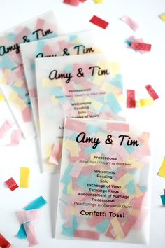 invitacion Confetti Programs! I love this idea! So cute! I would fill with biodegradable seed confetti or something :)