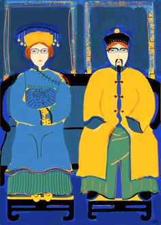 """""""Cool Ancestors -Blue"""":  Barbara Perrine Chu"""