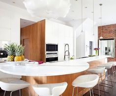 Wall of Kitchen --A clean, streamlined look is popular in contemporary kitchens.