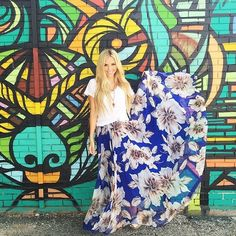 Marvelous Floral Maxi Skirt in Blue - Maxi Skirt - Trend and Style - Retro, Indie and Unique Fashion