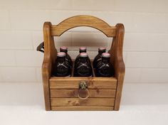Artisan Crafted Beer Carrier with Rustic Bottle Opener