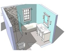 Guest bath ideas...just a little different but gives room for footed tub, corner shower, cabinet sink...needs toilet separated and storage closet :)