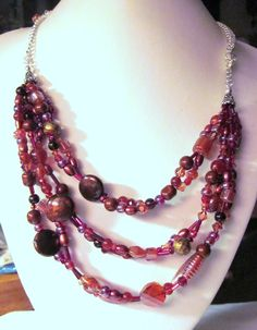 3 Strand Necklace - Shades of Cranberry - Glass, Pearl Beads, Swarovski Crystals, Fresh Water Pearls, Bib Necklace.