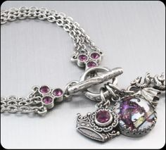 "Dragon Charm Bracelet, Stainless Steel Charm Bracelet, Dragon Jewelry, Dragon Bracelet, ""The Enchanted Dragon""  by BlackberryDesigns, $48.00"
