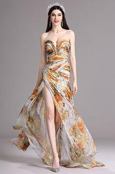 eDressit Floral Strapless Sweetheart Printed Prom Evening Summer Dress (X00120533)