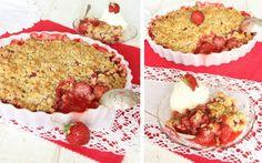 Knäckig jordgubbspaj – Lindas Bakskola Calzone, Pizza, Muffin, Breakfast, Desserts, Food, Morning Coffee, Tailgate Desserts, Deserts