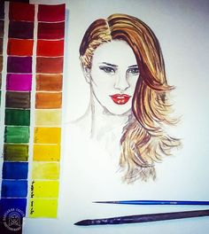 Морковка, акварель. Carrot, 29,6x21, watercolor, paper. Watercolor fashion illustration. Red-head woman. #palette #watercolour #fashionillustration