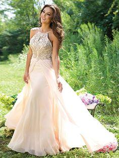 A-line/Princess Spaghetti Straps Sleeveless Beading Floor-Length Chiffon Dresses PromEver