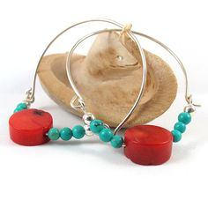 Silver hoop earrings red coral and turquoise by @SigalitAlcalai, $38.00