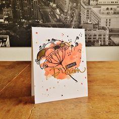 "Lovely Dream Card. Cardstock: PaperProducts (white), Artoz (gold); stamps: Stampendous (""Dandy Stems""); Maggie Holmes (""Bloom""); ink: SU, Ranger; watercolours: Schmincke; die: Kesi'Art (""Dream"")."