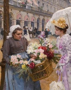 We believe that Art is a form of communication. We believe that almost everyone can learn to appreciate art and, therefore, enrich their lives. Classic Paintings, Great Paintings, Beautiful Paintings, Belle Epoque, Vintage Images, Vintage Art, Flowers For Sale, Academic Art, Victorian Art