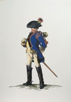 SOLDIERS- Menzel: SYW- Prussia: Prussian 1st Dragoons, Trumpeter, c.1750, by Adolph Menzel.