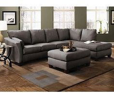 Klaussner Drew Sectional in Microsuede Charcoal