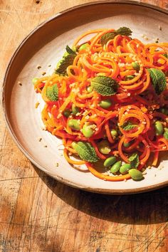 """Carrot Noodles Recipe with Sesame, Miso, and Edamame (a """"beauty"""" recipe by Chef Candice Kumai) - plant-based, dairy-free, gluten-free Dairy Free Diet, Dairy Free Recipes, Vegan Gluten Free, Carrot Noodles, Sweet Potato Noodles, Noodle Recipes, Salad Recipes, Healthy Recipes, Veggie Snacks"""