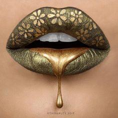 Metallic Gold Drip Lip Art by Tayyaba Akram (thebeauty_edit)