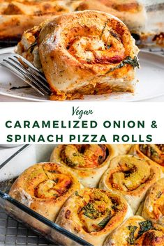 Vegan Caramelized Onion & Spinach Pizza Rolls Vegan Pizza Buns stuffed with caramelized onions, spinach, & tomato sauce. Mini Homemade vegetarian pizza buns are fun to make with Kids. Pizza Vegana, Vegan Foods, Vegan Dishes, Vegan Dinner Recipes, Cooking Recipes, Fun Recipes, Dinner Healthy, Vegan Recipes Spinach, Amazing Recipes Dinner