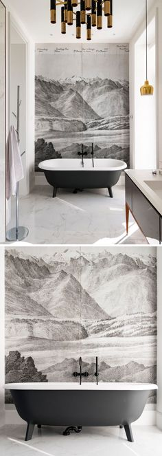 In this bathroom, a mural covers the wall behind the bath creating a focal point in the room.