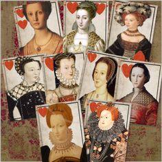 DAME de COEUR - Vintage Play Card Collage Antique Women Portraits