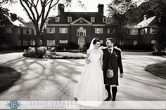 Bride and groom black and white wedding photo at Brantwyn Estate Wedding - Wilmington, Delaware - Hotel duPont, duPont wedding collection - wedding gown by Tara Keeley, kilt by 21st Century Kilts -  photo by Leslie Barbaro Photography