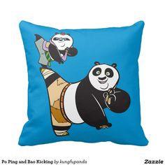 Po Ping and Bao Kicking Pillow panda, home decor, decoración. Producto disponible en tienda Zazzle. Product available in Zazzle store. Regalos, Gifts. Link to product: http://www.zazzle.com/po_ping_and_bao_kicking_pillow-189534932813735916?CMPN=shareicon&lang=en&social=true&rf=238167879144476949 #pillow #cojín #oso #panda #bear