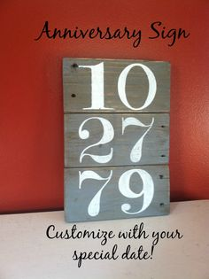 Custom Anniversary Sign by HoneycombSigns on Etsy