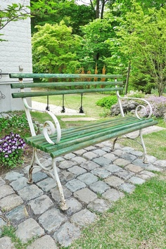 French antique garden bench