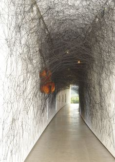 """State of Being"" installation by Chiharu SHIOTA, Japan - double bass, violin, and black wool"