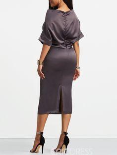 Slash Neck Batwing Half Sleeve Women's Sheath Dress Classy Work Outfits, Classy Dress, Fashion Line, Look Fashion, Elegant Dresses, Pretty Dresses, Half Sleeve Women, African Dresses For Women, African Attire