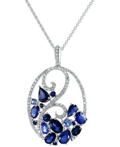 Shimmer like the sea in this glamorous necklace from Effy. Featuring pear-, oval- and- round-cut sapphires (3-3/4 ct. t.w.) offset by glimmering diamonds (1/3 ct. t.w.). Crafted in 14k white gold. App