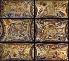 Monasterios - Panteón de San Isidoro de León Distribución de la decoración de las bóvedas del Panteón:   Apocalipsis-Pasión Pantocrátor y Evangelistas-Última cena Anuncio a los pastores-Matanza de los inocente