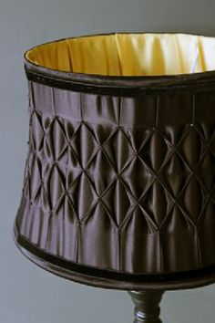 Satin Pleated Lampshade - Black with Gold interior