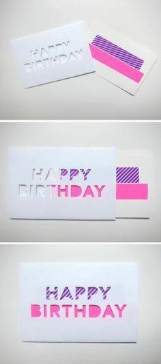 idee de carte d'anniversaire simple et esthétique à fabriquer soi meme, message Joyeux Anniversaire, écrit avec des lettres en scotch décoratif