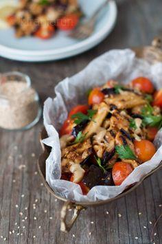 Baba Ganoush Tomato Salad - eggplant, lemon, olive oil, cumin, paprika, chili powder, heirloom tomatoes, garlic, parsley, tahini