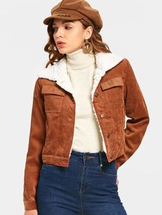 SHARE & Get it FREE | Shearling Cropped Corduroy Jacket - Brown MFor Fashion Lovers only:80,000+ Items • New Arrivals Daily Join Zaful: Get YOUR $50 NOW!