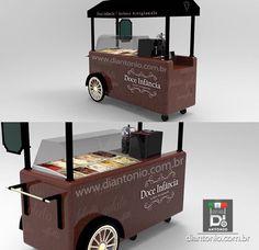 Galeria de Projetos - Di Antonio Carrinhos Gourmet Coffee Box, Coffee Carts, Coffee Truck, Bike Coffee, Mobile Kiosk, Mobile Cafe, Food Cart Design, Food Truck Design, Food Trucks