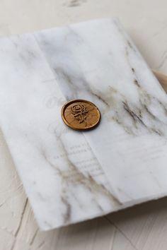 "Marble vellum wrapping paper wedding invitation with our ""Rose"" wax seal design / © PAPIRA invitatii de nunta personalizate cu sigiliu de ceara"