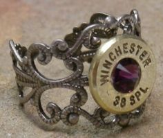 Ammo Ring with Purple Crystal and Gun Metal Filigree Band$12.00 - Rustic Passion Jewelry and Crafts